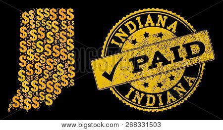 Golden Collage Of Dollar Mosaic Map Of Indiana State And Paid Corroded Seal. Vector Watermark With C