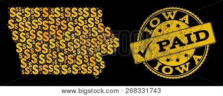 Golden Composition Of Dollar Mosaic Map Of Iowa State And Paid Rubber Stamp. Vector Watermark With D