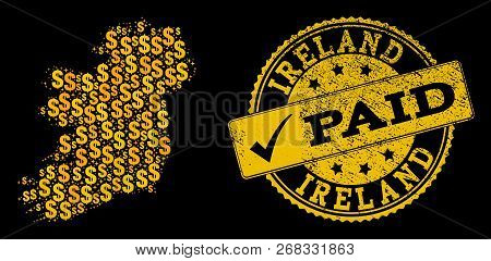 Golden Composition Of Dollar Mosaic Map Of Ireland Island And Paid Scratched Seal Stamp. Vector Seal