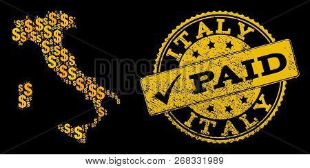 Golden Combination Of Dollar Mosaic Map Of Italy And Paid Corroded Seal Stamp. Vector Seal With Grun
