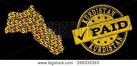 Golden Combination Of Dollar Mosaic Map Of Kurdistan And Paid Grunge Seal Stamp. Vector Seal With Gr