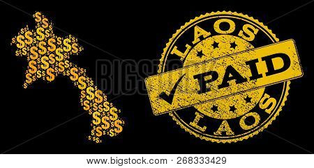 Golden Composition Of Dollar Mosaic Map Of Laos And Paid Scratched Seal Stamp. Vector Seal With Uncl