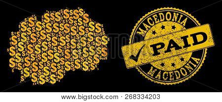 Golden Combination Of Dollar Mosaic Map Of Macedonia And Paid Corroded Seal Stamp. Vector Seal With