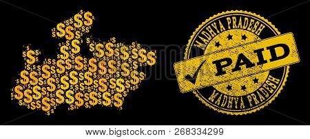 Golden Composition Of Dollar Mosaic Map Of Madhya Pradesh State And Paid Rubber Stamp. Vector Seal W