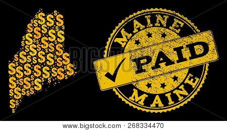 Golden Composition Of Dollar Mosaic Map Of Maine State And Paid Unclean Seal Stamp. Vector Watermark