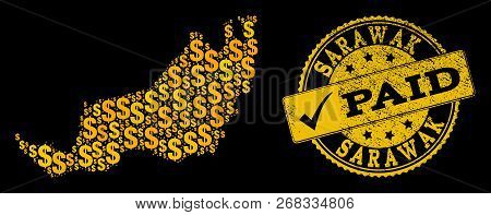 Golden Composition Of Dollar Mosaic Map Of Malaysian Sarawak And Paid Scratched Seal Stamp. Vector S