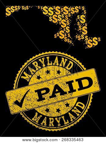 Golden Collage Of Dollar Mosaic Map Of Maryland State And Paid Corroded Stamp. Vector Seal With Corr