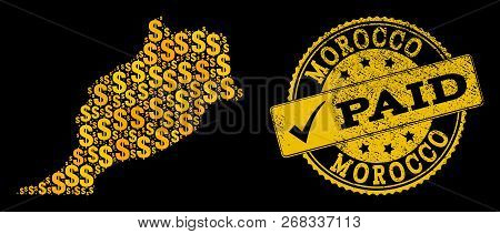 Golden Combination Of Dollar Mosaic Map Of Morocco And Paid Rubber Seal Stamp. Vector Watermark With