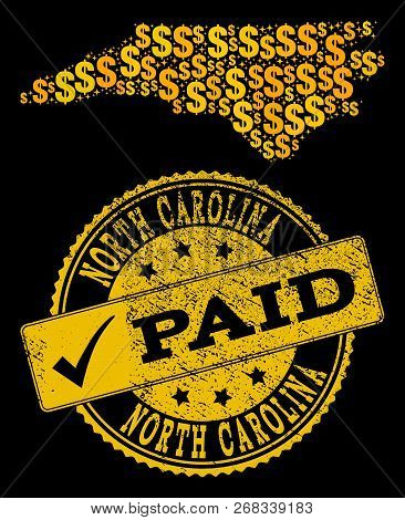 Golden Combination Of Dollar Mosaic Map Of North Carolina State And Paid Unclean Seal. Vector Seal W