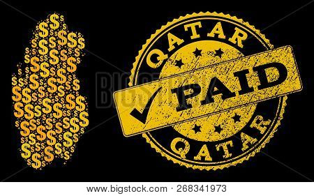 Golden Combination Of Dollar Mosaic Map Of Qatar And Paid Rubber Seal Stamp. Vector Imprint With Dis