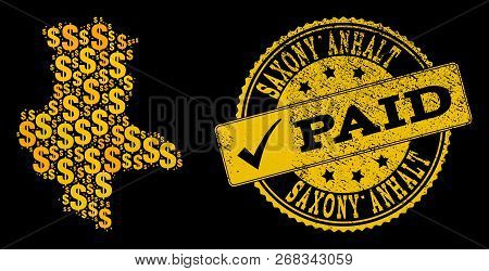 Golden Collage Of Dollar Mosaic Map Of Saxony-anhalt State And Paid Rubber Seal Stamp. Vector Waterm