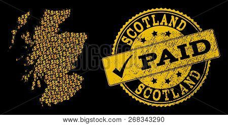 Golden Composition Of Dollar Mosaic Map Of Scotland And Paid Scratched Seal Stamp. Vector Watermark