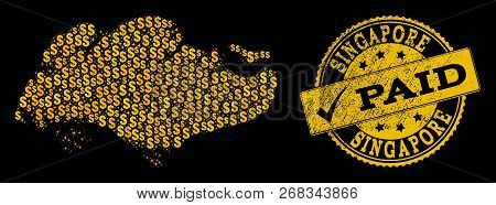 Golden Composition Of Dollar Mosaic Map Of Singapore And Paid Scratched Seal Stamp. Vector Watermark