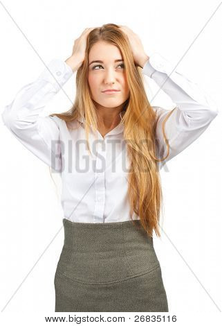 Portrait of young beautiful businesswoman having a headache, against white background