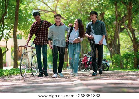 Diversity Student Group Walking Together In University,happy Multiethnic Friend Study In Asian Colle