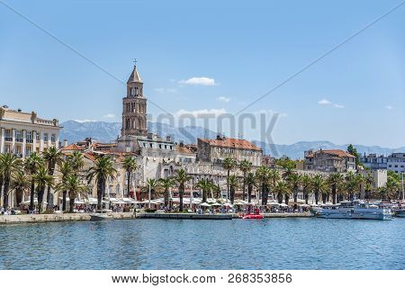 Split, Croatia - July 12, 2017: Diocletians Palace In Split, Croatia.