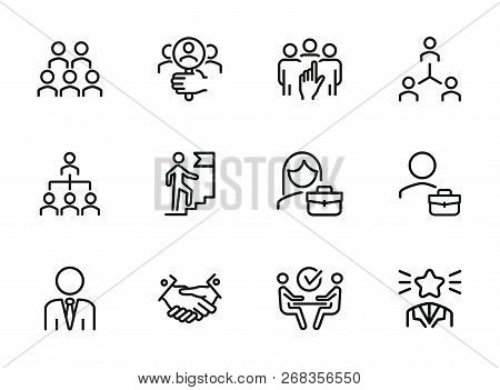 Career Promotion Line Icon Set. Candidate, Selection, Interview. Human Resource Concept. Can Be Used