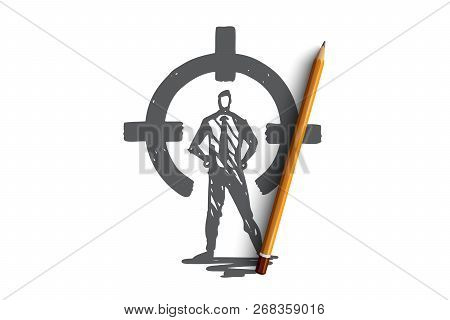 Control, Rear Sight, Aim, Target, Circle Concept. Hand Drawn Person In Suit On Rear Sight Concept Sk