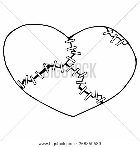 Broken Heart Of Two Halves. Broken Heart Icon. Vector Illustration Of A Split Stitched Heart. Hand D