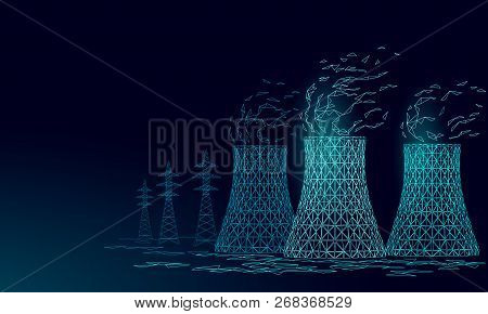 Nuclear Power Station Cooling Tower Low Poly. 3d Render Ecology Pollution Save Planet Environment Co
