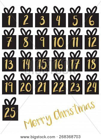 Gift Box Set With Gold Foil Numbers Vector Illustration. Advent Calendar. Waiting For Christmas Coun