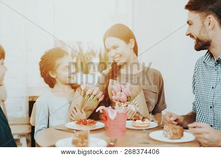 Family Smiling In Day 8 March. Romantic Day And Happy Day. Holiday With Family In Day 8 March. Gift