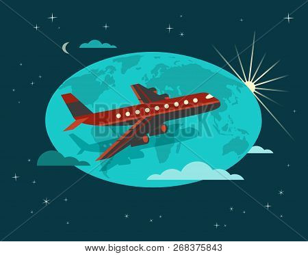 Travel Concept. Around The World Travelling By Airplane Flight. Aircraft Touring Poster. Flat Cartoo