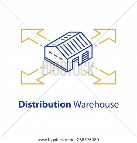 Distribution Concept, Warehouse Services, Wholesale Building, Supply Center, Isometric View, Vector