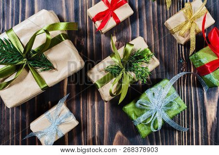 Christmas Gift Boxes With Decorations And Fir