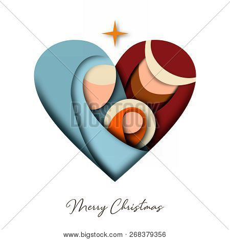 Merry Christmas 3d Paper Cut Greeting Card With Religious Illustration Of Holy Family: Mary, Joseph