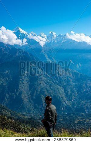 Munsiyari, Uttarakhand, India - September 29, 2018 : Trekker At Himalayas - View Of Himalayan Range