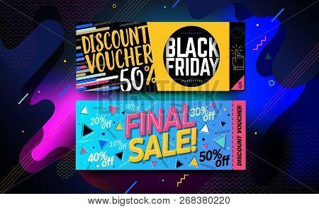 Black Friday Sale Banner, Poster Or Shopping Voucher. Social Media Vector Illustration Template For