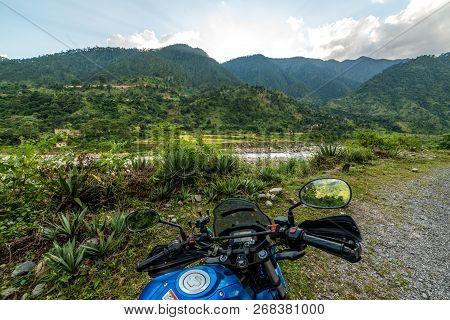Photo Of Bike Rider In Mountains On The Way To Munsiyari, Uttarakhand