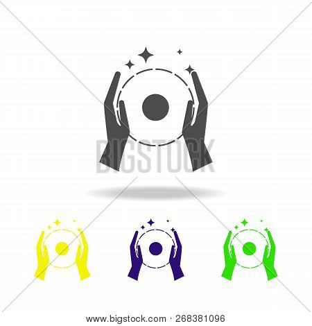 Focus With A Ball Multicolored Icon. Element Of Popular Magic Icon. Signs And Symbols Icon Can Be Us