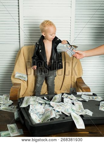 Money Begets Money. Little Boy Count Money In Cash. Small Child Do Business Accounting In Startup Co