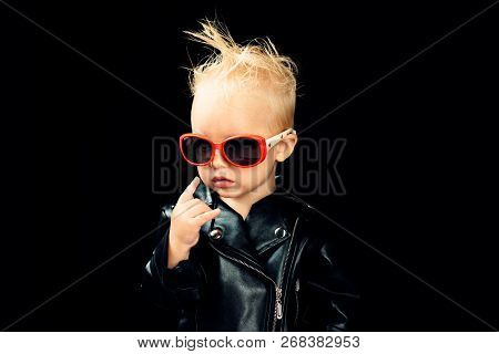 Rock Music Is In My Soul. Rock Style Child. Little Child Boy In Rocker Jacket And Sunglasses. Little
