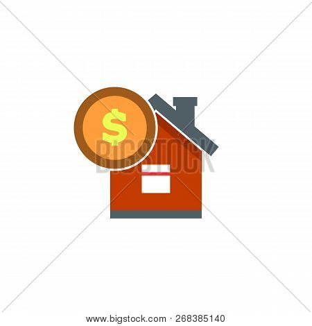 House With Coin Icon Vector. Buying House Icon In Flat Style. Save Money For Buying Home