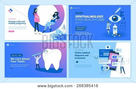 Web Page Design Templates Collection Of Gynecology , Ophthalmology, Dental Care, Online Medical Diag