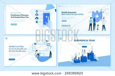Web Page Design Templates Collection Of Health Insurance, Health Care Plan, Our Medical Team, App Fo