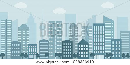 Modern Urban Landscape. City Life Illustration With House Facades And Other Urban Details. Flat Styl
