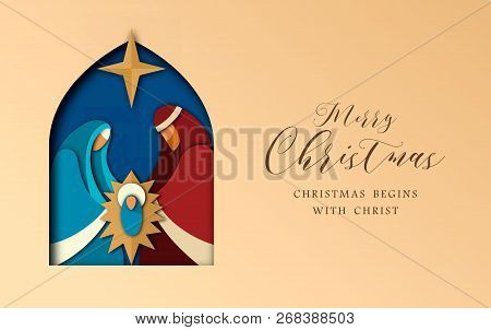 Merry Christmas Greeting Card, Holy Family Illustration In Modern Layered Paper Cut Style. Religious