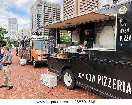 Baltimore, Maryland - September 26, 2018: Food Trucks At Lunch Time In General Sam Smith Park Near T
