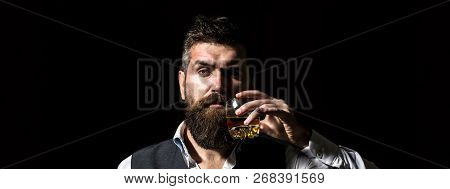 Rich Man With A Holding Glass Whiskey. Attractive Man With A Whiskey. Stylish Handsome Male In Suit