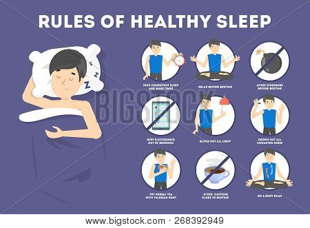 Rules of healthy sleep. Bedtime routine for good sleep poster
