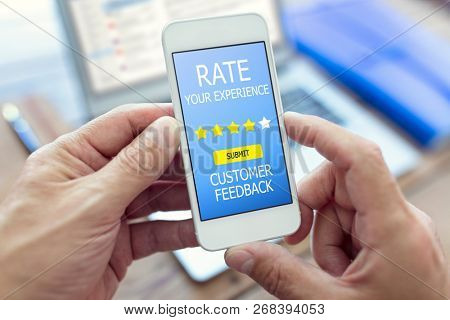 Customer feedback form rate you experience star rating on mobile phone
