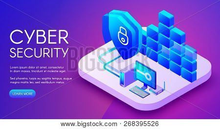 Cyber security technology illustration of private network secure access and internet firewall. Personal data encryption with VPN for safe computer online on purple ultraviolet background poster