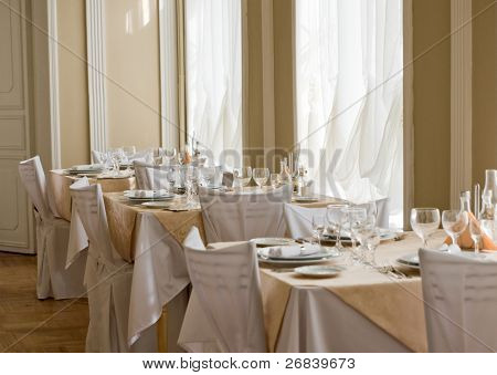 Picture of empty expensive restaurant.