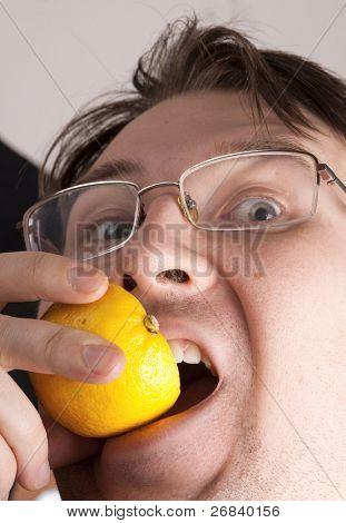Insane man biting lemon, graphic skin detail. Yes that's me=)