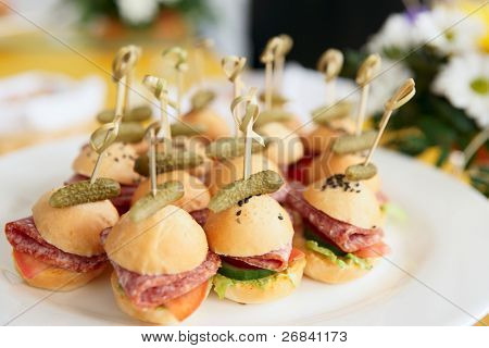 Canapes on restaurant table, spring day light