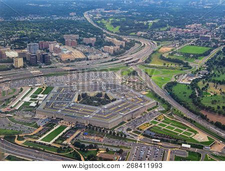 Aerial View Of The United States Pentagon, The Department Of Defense Headquarters In Arlington, Virg